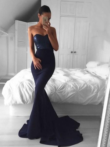 Navy Blue Strapless Sweetheart Embellished Bodice Mermaid Prom Dress