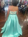 Light Blue Strapless Lace Bodice Long Ball Gown Formal Gown
