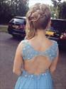 Light Blue V-Neck Lace Bodice Backless Floor Length Prom Dress