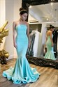 Light Blue Strapless Sweetheart Long Mermaid Evening Dress With Train