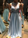 Light Blue Sheer Lace Bodice A Line Backless Chiffon Prom Dress