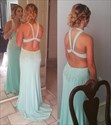 Light Blue Halter Neck Beaded Open Back Long Chiffon Formal Dress