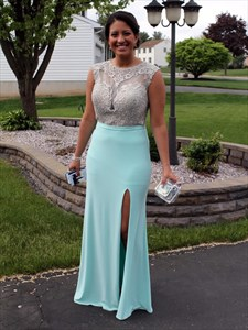 Light Blue Sheer Illusion Lace Bodice Sheath Prom Dress With Slits