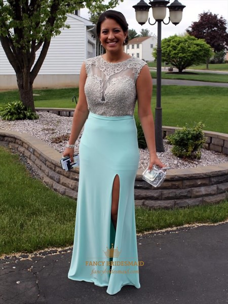 Light Blue Sheer Illusion Lace Bodice Sheath Prom Dress With Slits