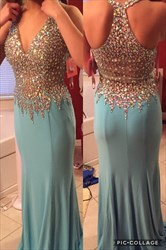 Light Blue Halter Sheer Beaded Open Back Long Chiffon Evening Dress