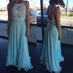 Light Blue Halter Beaded Backless Floor Length Chiffon Prom Dress
