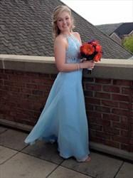 Light Blue Halter Lace Bodice Backless Long Formal Dress