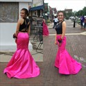 Hot Pink Two Piece Backless Floor Length Mermaid Formal Dress