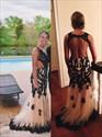 Black Lace Applique Open Back Mermaid Floor Length Prom Dress