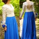 Blue Two Tone Long Sleeve Embellished Full Length Formal Dress