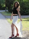Black And White Two Piece Long Prom Dress With Cutout Sides