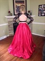 Red Two Piece Long Sleeve Sheer Lace Top Ball Gown Formal Dress