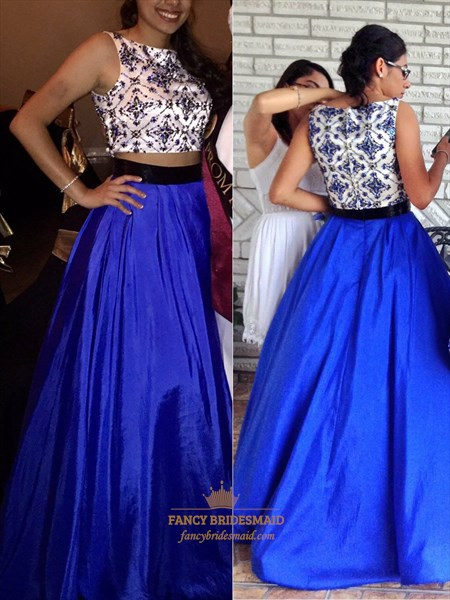 Royal Blue Two Piece Embellished Bodice Floor Length Prom Dress