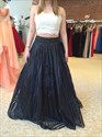 Two Piece Strapless Lace Top Beaded Waist Long Prom Dress