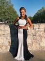 Black And White Open Back Sleeveless Long Formal Dress