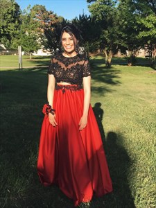 Red Illusion Lace Bodice Short Sleeve Two Piece Long Formal Gown