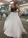 White Strapless Lace Bodice Tulle Ball Gown Formal Dresses