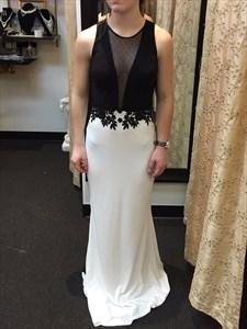 White And Black Lace Embellished Sheer Long Back Prom Dresses