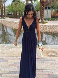 Navy Blue V Neck Lace Bodice Chiffon Backless Long Bridesmaid Dress