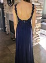 Navy Blue V Neck Lace Bodice Chiffon Backless Long Bridesmaid Dress