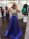 Royal Blue Sequin Embellished Top Floor Length Evening Dress