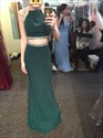 Emerald Green Two Piece Sequin Embellished Cap Sleeve Long Prom Dress