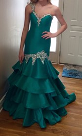 Teal One Shoulder Sweetheart Beaded Long Mermaid Formal Dress