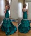 Teal One Shoulder Sweetheart Beaded Long Mermaid Formal Dress