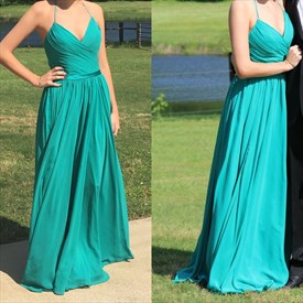 Turquoise Spaghetti Strap V Neck Ruched Floor Length Prom Dress