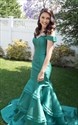 Teal Off The Shoulder Mermaid Floor Length Evening Dress
