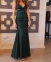 Emerald Green V Neck Ruched Beaded Mermaid Long Formal Dress
