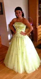 Mint Green Strapless Beaded Tulle Floor Length Ball Gown Prom Dress