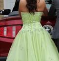 Mint Green Strapless Beaded Tulle Floor Length Ball Gown Prom Dress