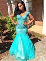 Aqua Blue V Neck Lace Embellished Cap Sleeve Mermaid Evening Dress