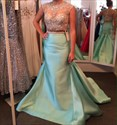 Blue Sheer Illusion Neckline Beaded Embellished Mermaid Prom Dress