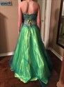 Green Strapless Sequin Beaded Bodice Tulle Ball Gown Prom Dress