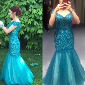 Teal Off The Shoulder Short Sleeve Lace Long Mermaid Prom Gown