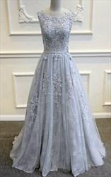 Grey Sheer Lace Applique Backless Sleeveless Floor Length Formal Dress