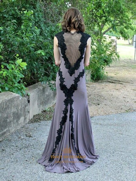 Grey High Neck Lace Applique Cap Sleeve Sheer Back Long Formal Dress