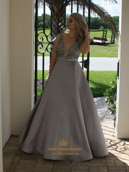 Grey Deep V Neck Beaded Backless Floor Length Ball Gown Prom Dress