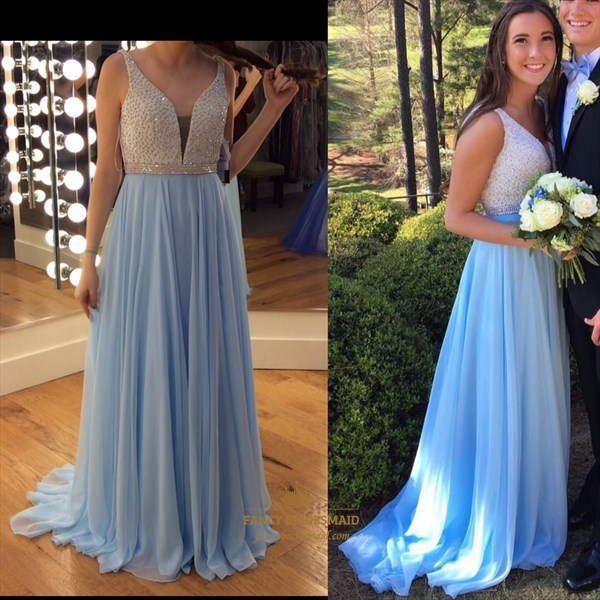 Blue Sleeveless V Neck Beaded Top Chiffon Long Bridesmaid Dress