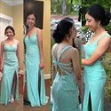 Turquoise Beaded Cross Back Long Evening Dress With Slit And Straps