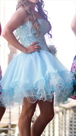 Blue Strapless Sweetheart Beaded Bodice Short Party Dresses