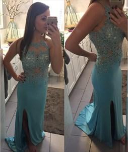 Blue Sheer Illusion Neckline Lace Applique Open Back Dress With Slit