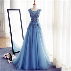 Blue Lace Applique Open Back Floor Length Tulle Prom Dress