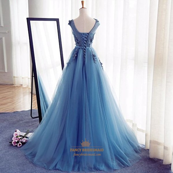 Blue Lace Applique Open Back Floor Length Tulle Prom Dress