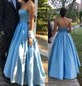 Blue Strapless Sleeveless Floor Length Ball Gown Formal Dress