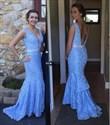 Blue V Neck Backless Lace Floor Length Mermaid Prom Dress