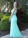 Turquoise V-Neck Sleeveless Floor Length Lace Evening Gown