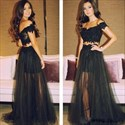 Black Two Piece Off The Shoulder Lace Bodice Tulle Long Prom Dress